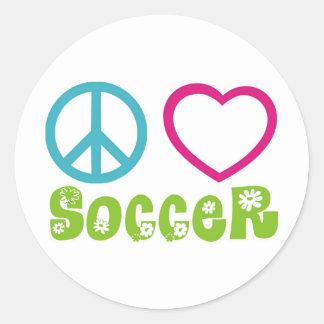 Peace, Love, Soccer Round Sticker