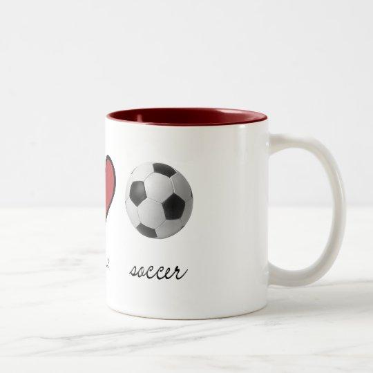 Peace, Love, Soccer Two-Tone Coffee Mug