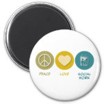 Peace Love Social Work 2 Inch Round Magnet