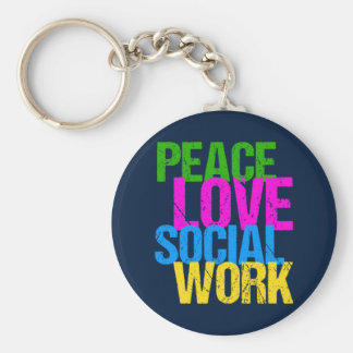 Peace Love Social Work Keychain