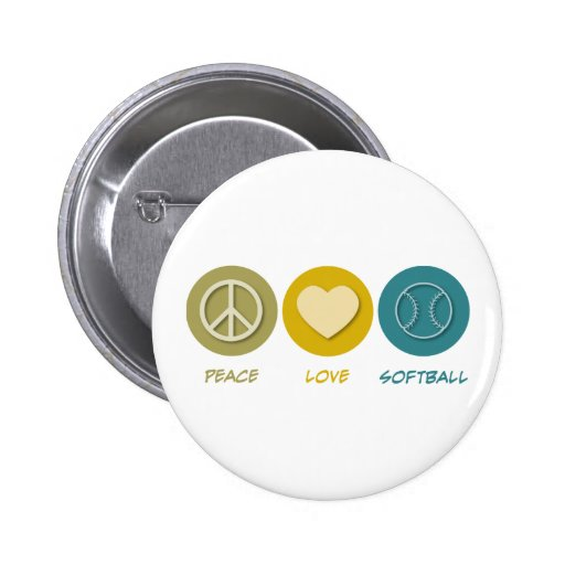 Peace Love Softball 2 Inch Round Button