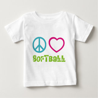 Peace Love Softball Baby T-Shirt
