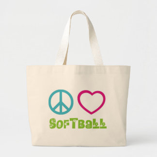 Peace Love Softball Jumbo Tote Bag