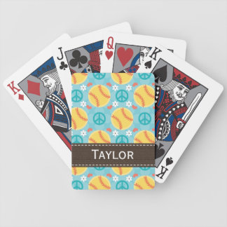 Peace Love Softball Bicycle® Playing Cards