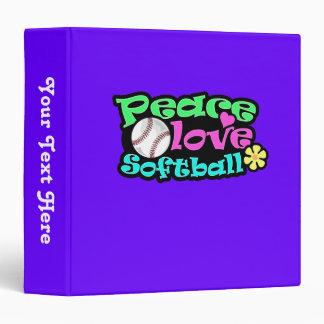 Peace, Love, Softball Vinyl Binders