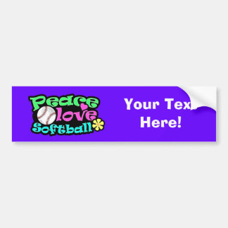 Peace, Love, Softball Bumper Sticker