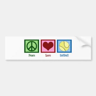 Peace Love Softball Bumper Sticker