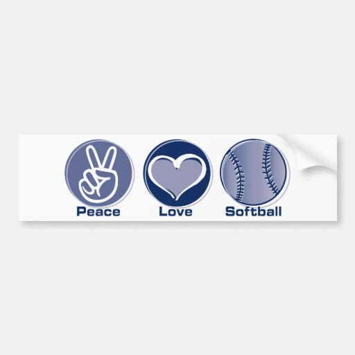 Peace Love Softball Bumper Stickers
