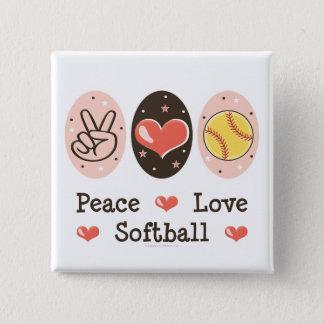 Peace Love Softball Button