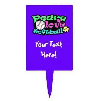 Peace Love Softball Cake Toppers