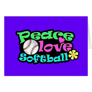 Peace, Love, Softball Greeting Cards
