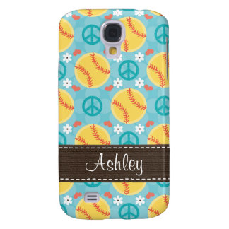 Peace Love Softball  Samsung Galaxy S4 Case