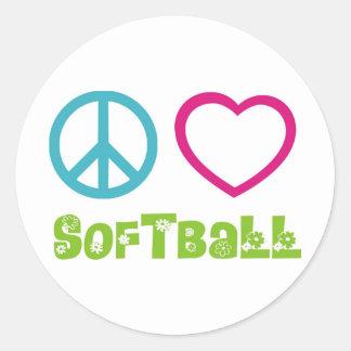 Peace Love Softball Classic Round Sticker