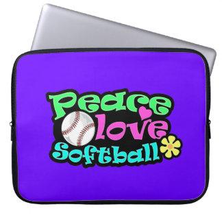 Peace, Love, Softball Computer Sleeve