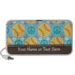 Peace Love Softball Doodle Speakers Personalized