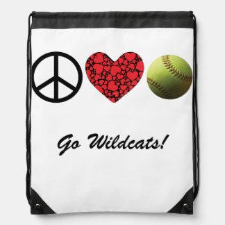 Peace Love Softball Drawstring Backpack