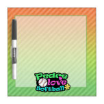 Peace, Love, Softball Dry Erase Board