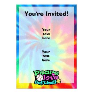 Peace Love Softball Invitation
