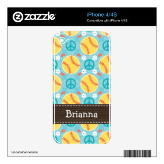 Peace Love Softball iPhone 4 / 4s Skin Decals For The iPhone 4S
