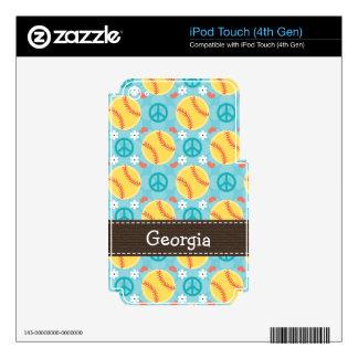 Peace Love Softball iPod Touch Skin 4th Gen 4g