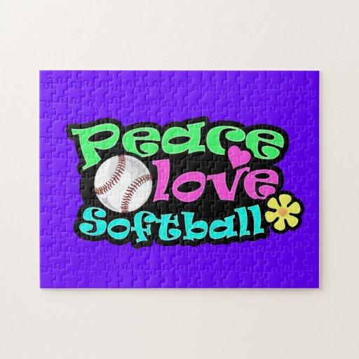Peace, Love, Softball Jigsaw Puzzle