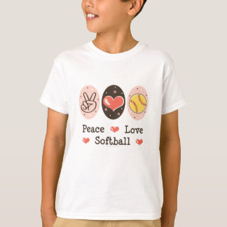 Peace Love Softball Kids T-shirt