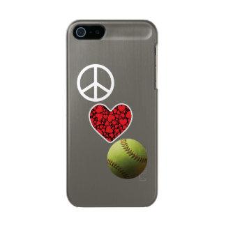 Peace Love Softball Metallic Phone Case For iPhone SE/5/5s