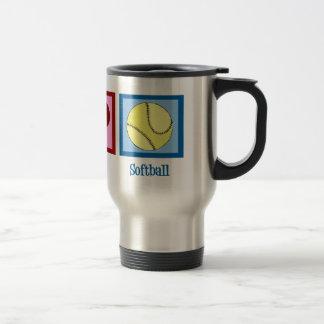 Peace Love Softball 15 Oz Stainless Steel Travel Mug