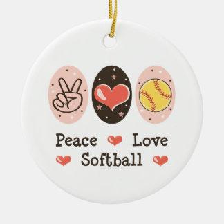 Peace Love Softball Ornament