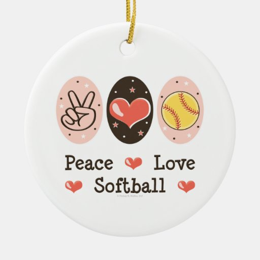 Peace Love Softball Ornament