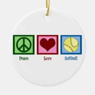 Peace Love Softball Double-Sided Ceramic Round Christmas Ornament