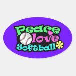 Peace, Love, Softball Oval Stickers