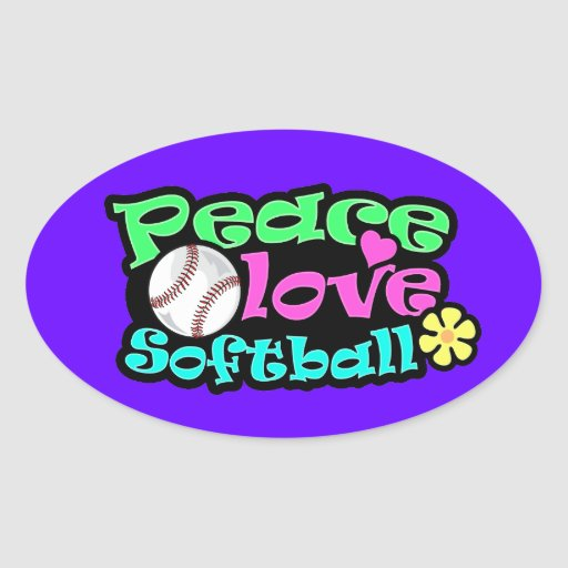 Peace, Love, Softball Oval Stickers