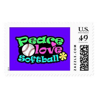 Peace, Love, Softball Postage Stamp