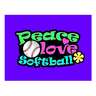 Peace, Love, Softball Postcard