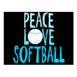 Peace, Love, Softball Postcard