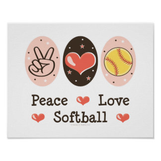 Peace Love Softball Poster Print