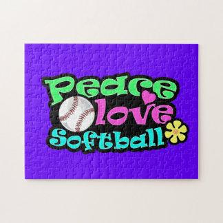 Peace Love Softball Jigsaw Puzzle