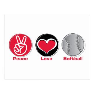 Peace Love Softball red Postcard
