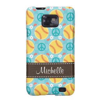 Peace Love Softball Samsung Galaxy S Case Cover Galaxy S2 Cases