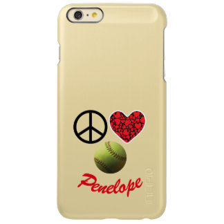 Peace Love Softball Smiley Name Incipio Feather® Shine iPhone 6 Plus Case
