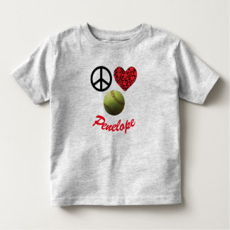 Peace Love Softball Smiley Toddler T-shirt