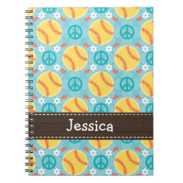 Peace Love Softball Spiral Notebook Journal