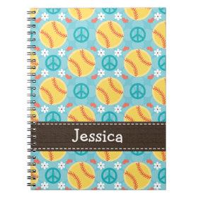 Peace Love Softball Spiral Notebook Journal