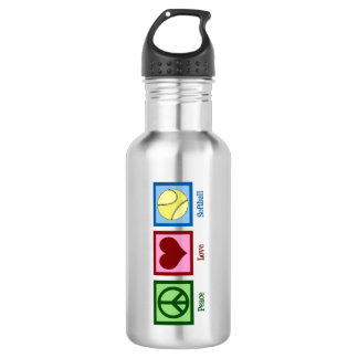 Peace Love Softball Stainless Steel Water Bottle