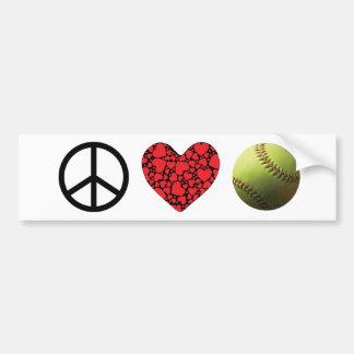 Peace Love Softball Symbols Bumper Sticker
