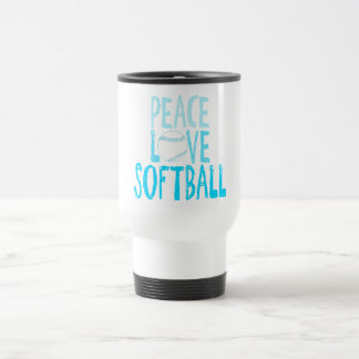 Peace, Love, Softball Travel Mug