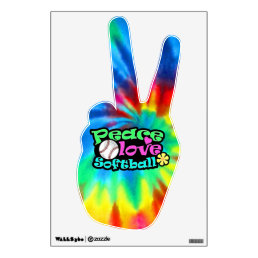 Peace, Love, Softball Wall Sticker