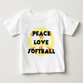 Peace, Love, Softball with peace sign Baby T-Shirt