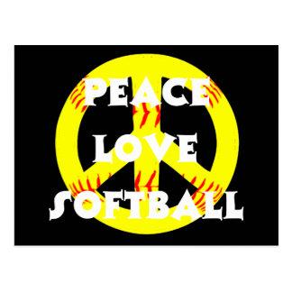 Peace, Love, Softball with peace sign Postcard